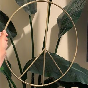 CB2 BRUSHED BRASS WIRE PEACE WREATH